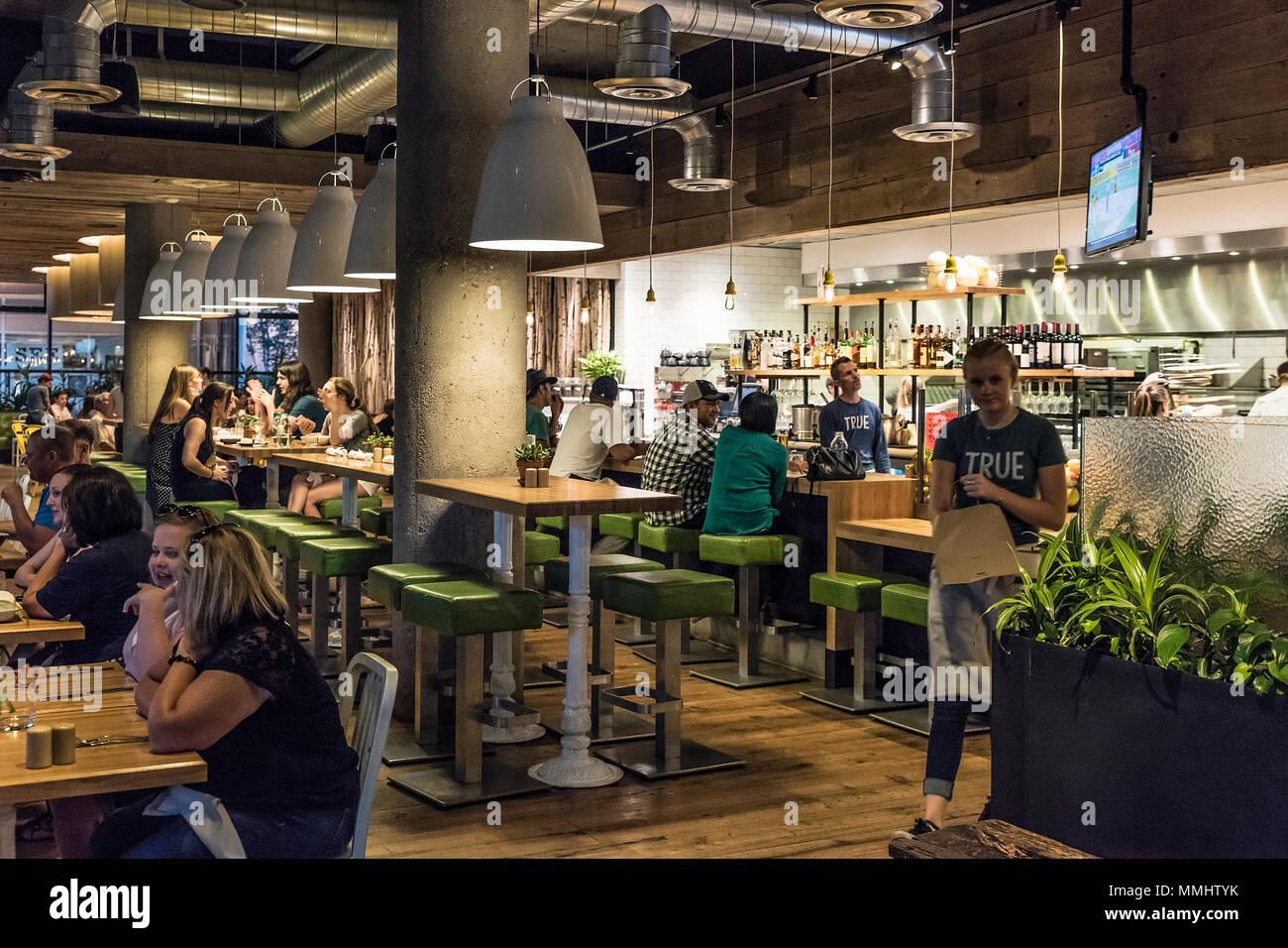 Vero cibo ristorante di cucina, Denver Colorado, Stati Uniti d'America. Immagini Stock