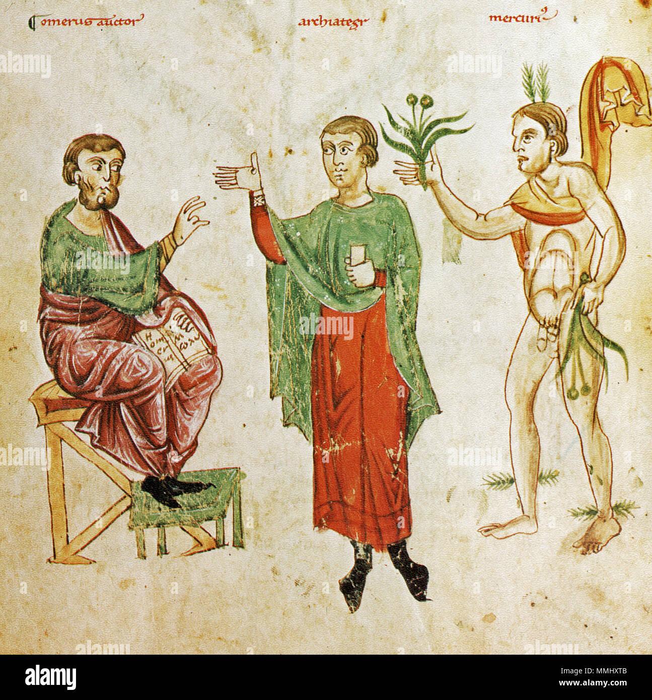 Fantastisch Deutsch: Diese Allegorische Szene Zeigt Omero, Einen Arzt Und  Den Gott Mercurius,