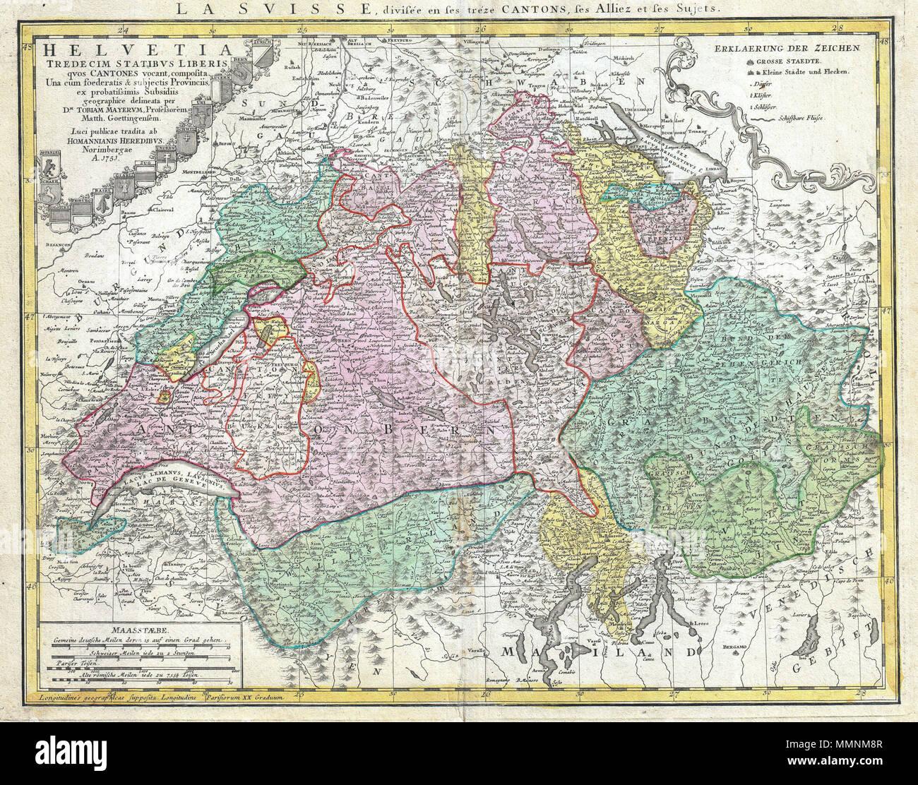 Dettagliata Cartina Della Svizzera.Inglese Una Perfetta E Dettagliata 1751 Eredi Homann Cartina Della Svizzera Rappresenta La Svizzera Lungo Con