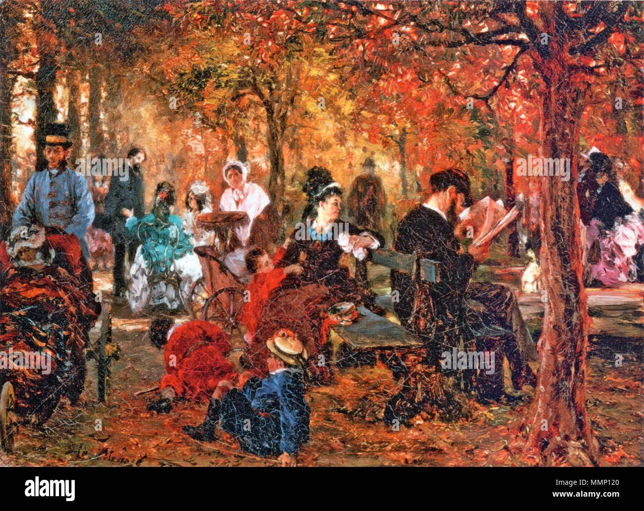 . Deutsch: Gemälde Im 'Jardin du Luxembourg', Staatliches Puschkin-Museum, Moskau . 1876. 28 Adolph-von-Menzel---Im-Jardin-du-Lussemburgo Foto Stock