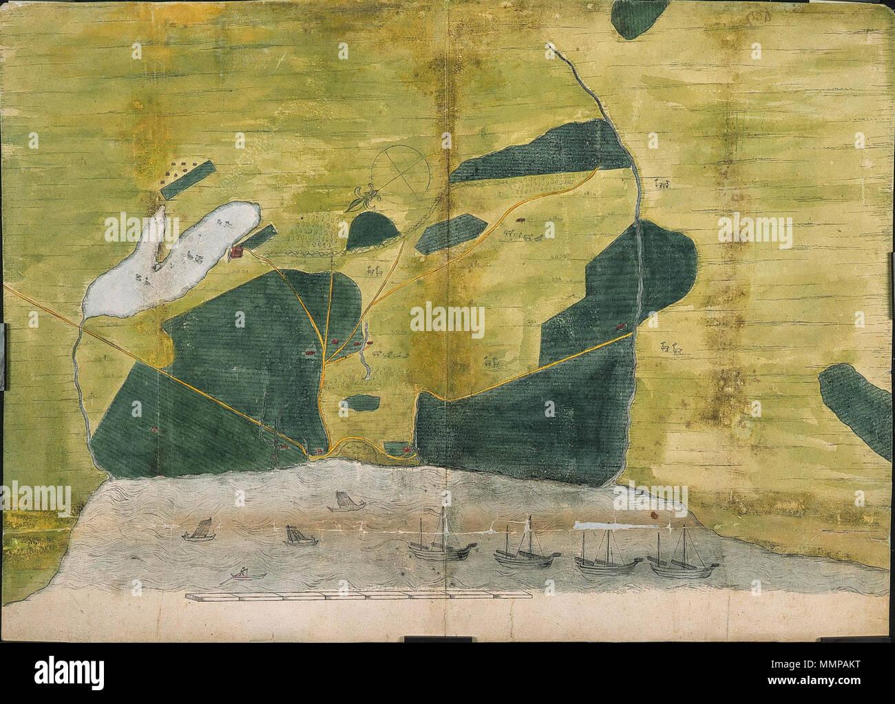 . Nederlands: Titel catalogus Leupe (NA): Caerte van de besayde velden aen Saccam. Gerestaureerd, Echter su op de middenvouw weer ingescheurd. Notities tergo: Caerte vande Besaeyde velden aen Saccan n. 8 / Behoort da het dagregister des kasteels Zeelandia op Formosa eindigende 8 aug. 1644 uit portefeuille 1644 n. III / 598 d / 427. De tekening toont de nel 1644 porta gouverneur Francois Garon uitgevoerde verkaveling van rijst en suikerrietvelden, ten zuiden van Fort Zeelandia op Formosa. Inglese: Secondo il catalogo Leupe (NA), il titolo originale recita: Caerte van de besayde velden aen Sa Immagini Stock