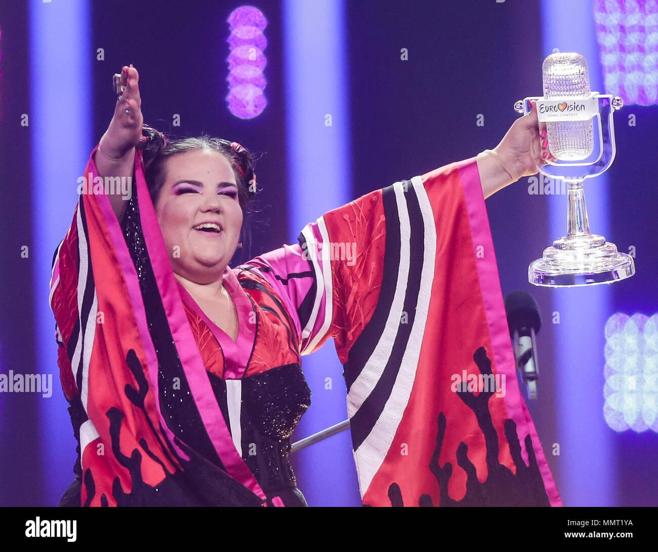 Lisbona, Portogallo. Il 12 maggio 2018. 12 maggio 2018, Portogallo Lisbona:  cantante netta da Israele vince
