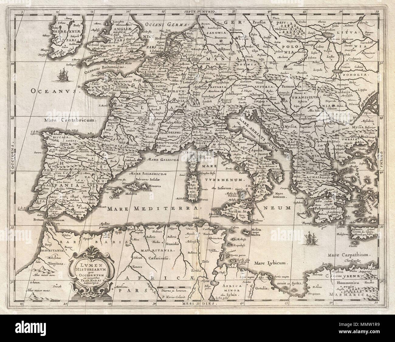 Cartina Europa In Inglese.Inglese Un Eccezionale C 1652 Mappa Di Europa Da Jan