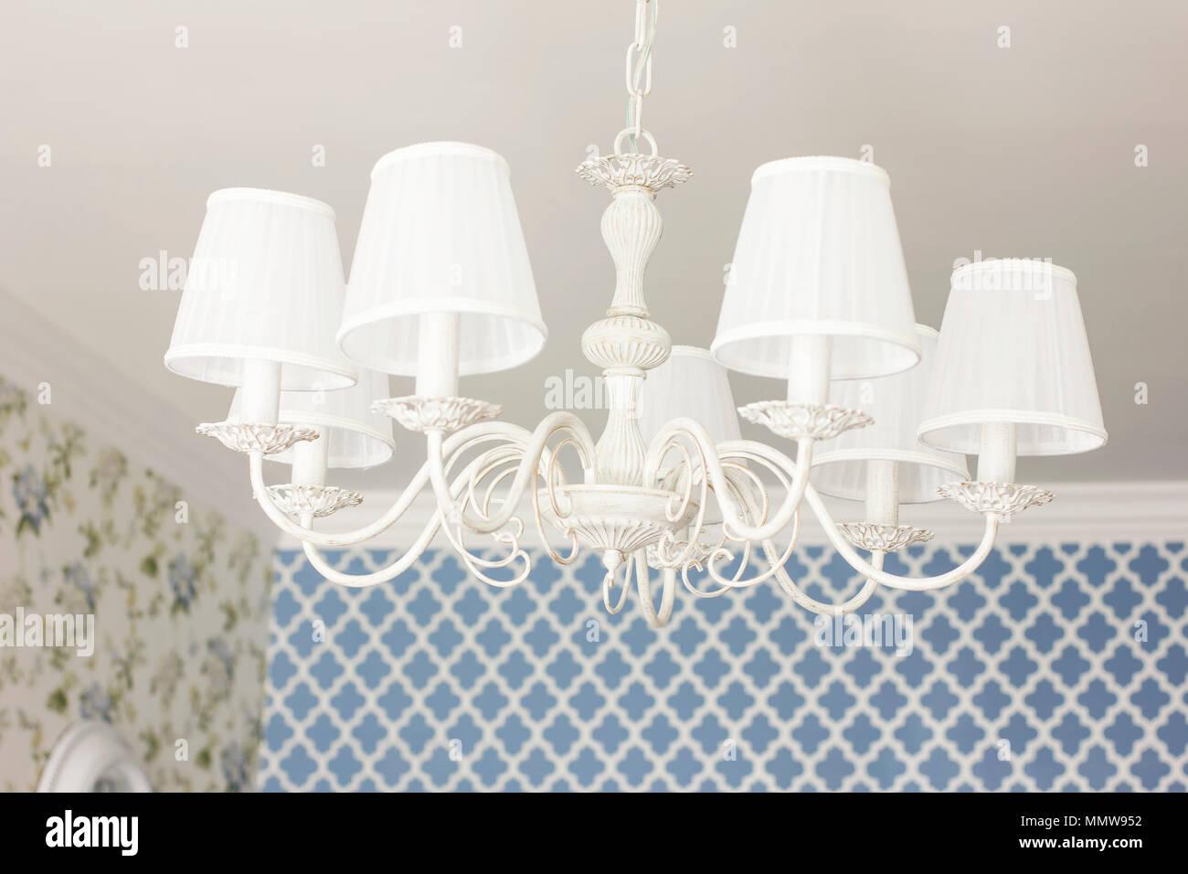 Bianco elegante lampadario a soffitto lampada dettagli di