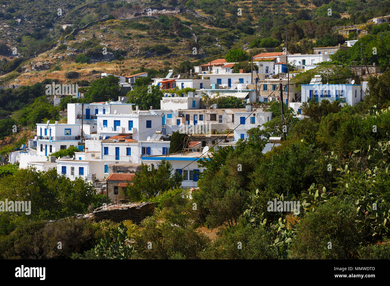 Villaggio Chrysomilia su Fourni Island, Grecia. Immagini Stock