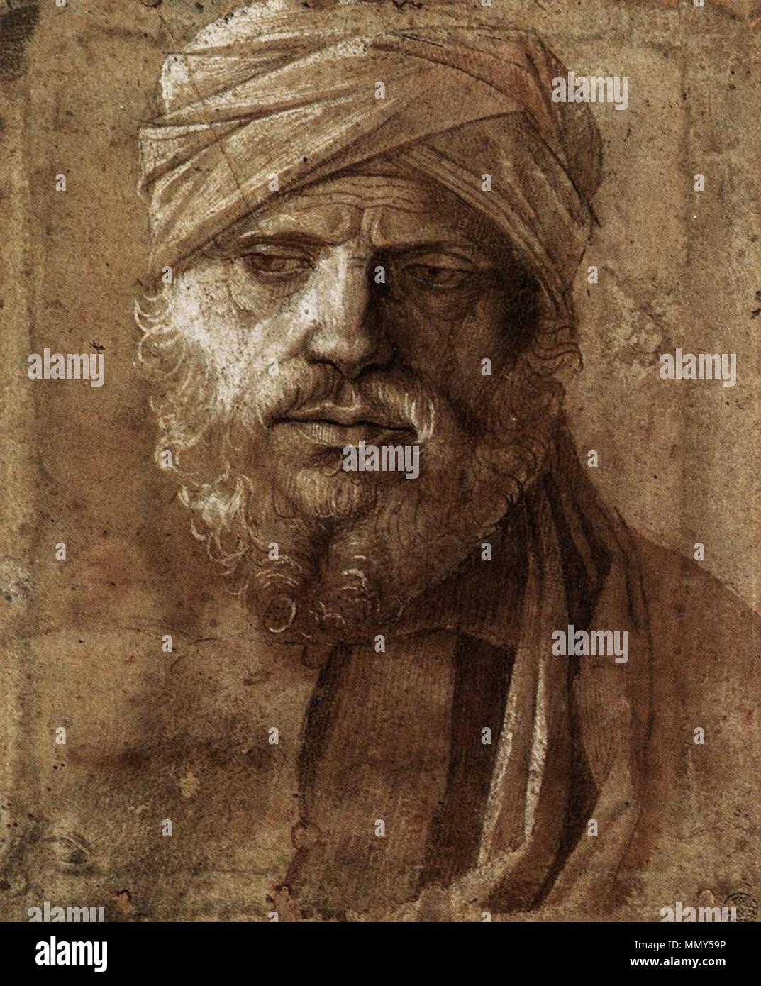 Inglese: l'uomo con un turbante . 1490s. Giovanni Bellini, uomo con turbante, gabinetto disegni e stampe Immagini Stock