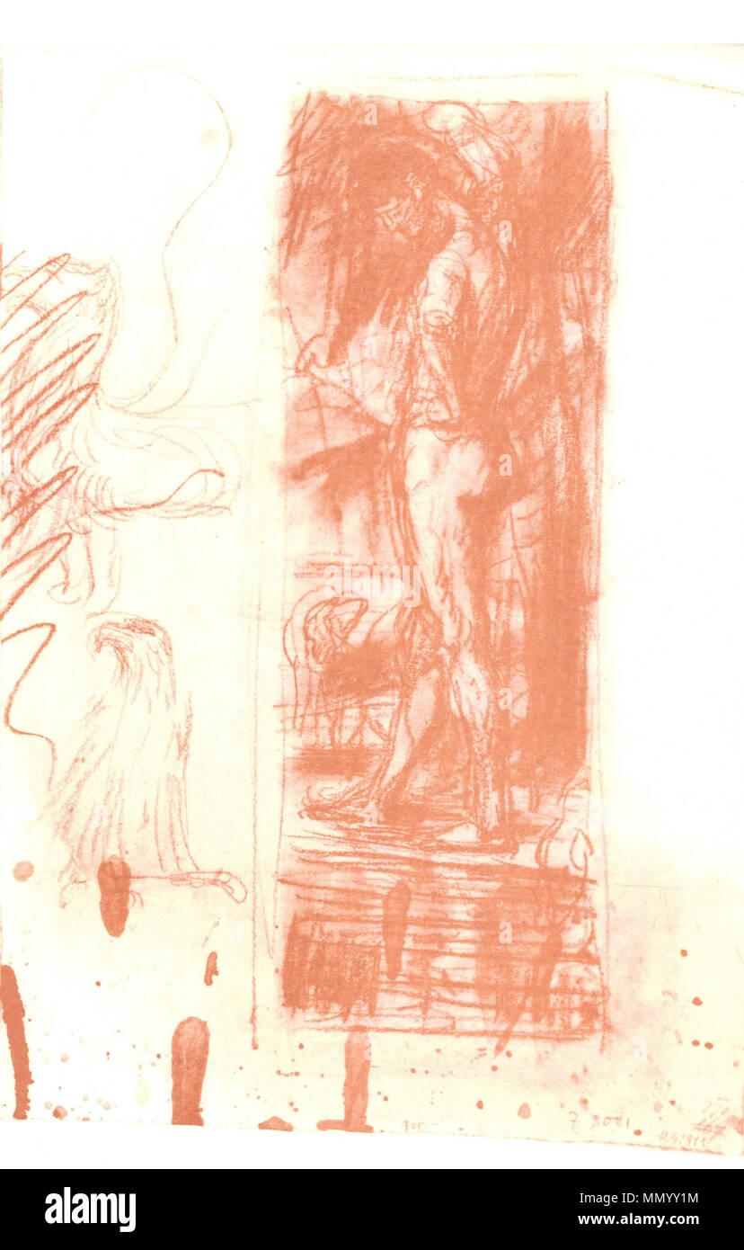 . Deutsch: Hans von Marées: Narziss, Entwurf. 57,8 × 43 cm. Rötel. La Kunsthalle di Mannheim . 1885. Hans von Marées Hans von Marees Narziss Entwurf Immagini Stock