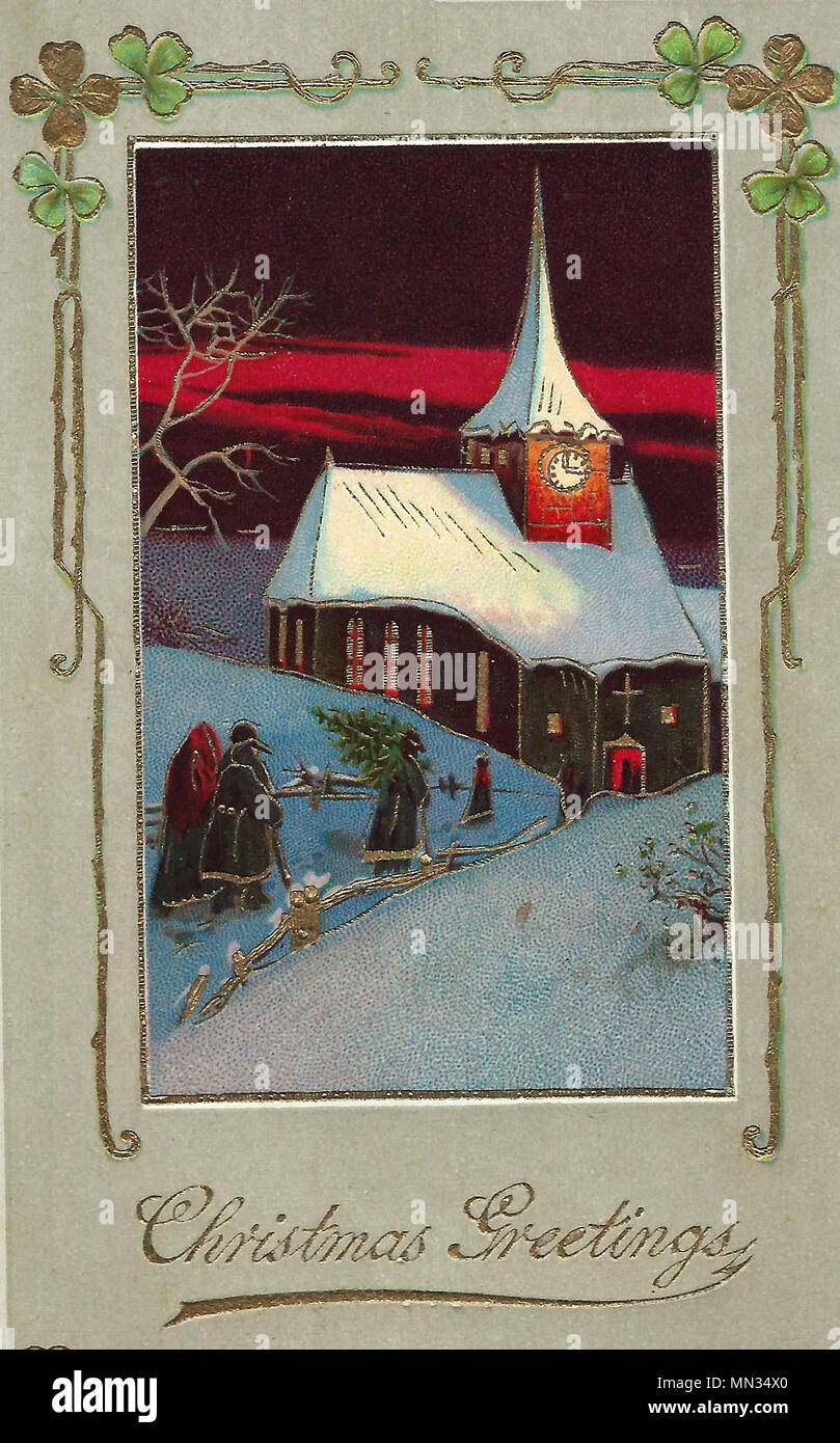 Immagini Di Natale Vintage.Auguri Di Natale Un Natale Vintage Post Card Foto Immagine Stock
