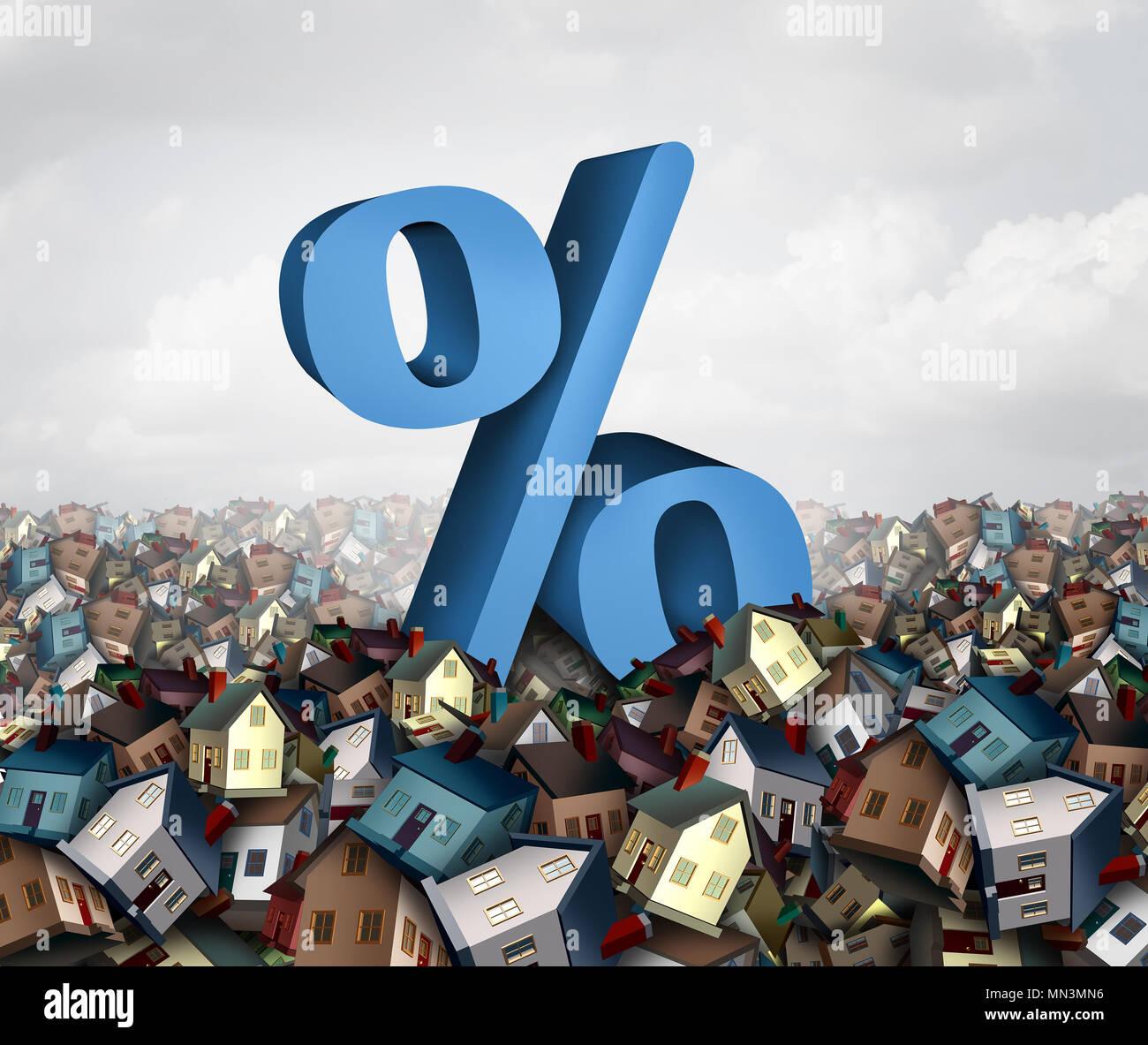 Home tassi di interesse e la bolla immobiliare il finanziamento come un segno di percentuale in una marea di case come un alloggiamento bancario prestito concetto come 3D'illustrazione. Immagini Stock