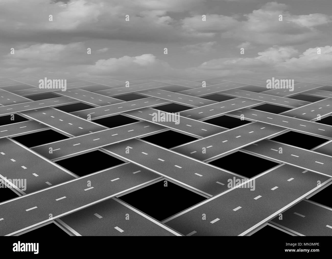 Organizzazione del trasporto su strada e il concetto di viaggio come organizzato transito gestito con 3D'illustrazione degli elementi. Immagini Stock