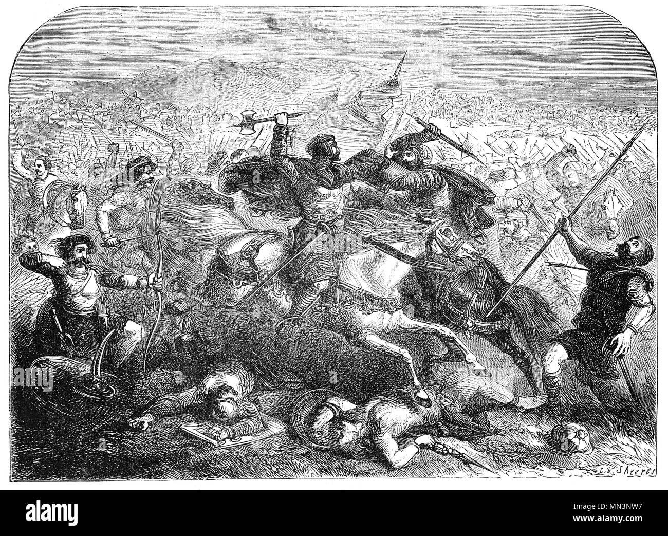 La battaglia di Badon tra Celtic i britannici e gli Anglosassoni in la fine del v o agli inizi del VI secolo a. È stato accreditato come una grande vittoria per i cittadini britannici, arrestando l'invasione dei Regni anglosassoni per un periodo di tempo ed è principalmente conosciuto oggi per il coinvolgimento di Re Artù, una tradizione che prima sono apparse chiaramente nel IX secolo Historia Brittonum. A causa del numero limitato di fonti, non vi è alcuna certezza circa la data, il luogo o i dettagli dei combattimenti. Immagini Stock