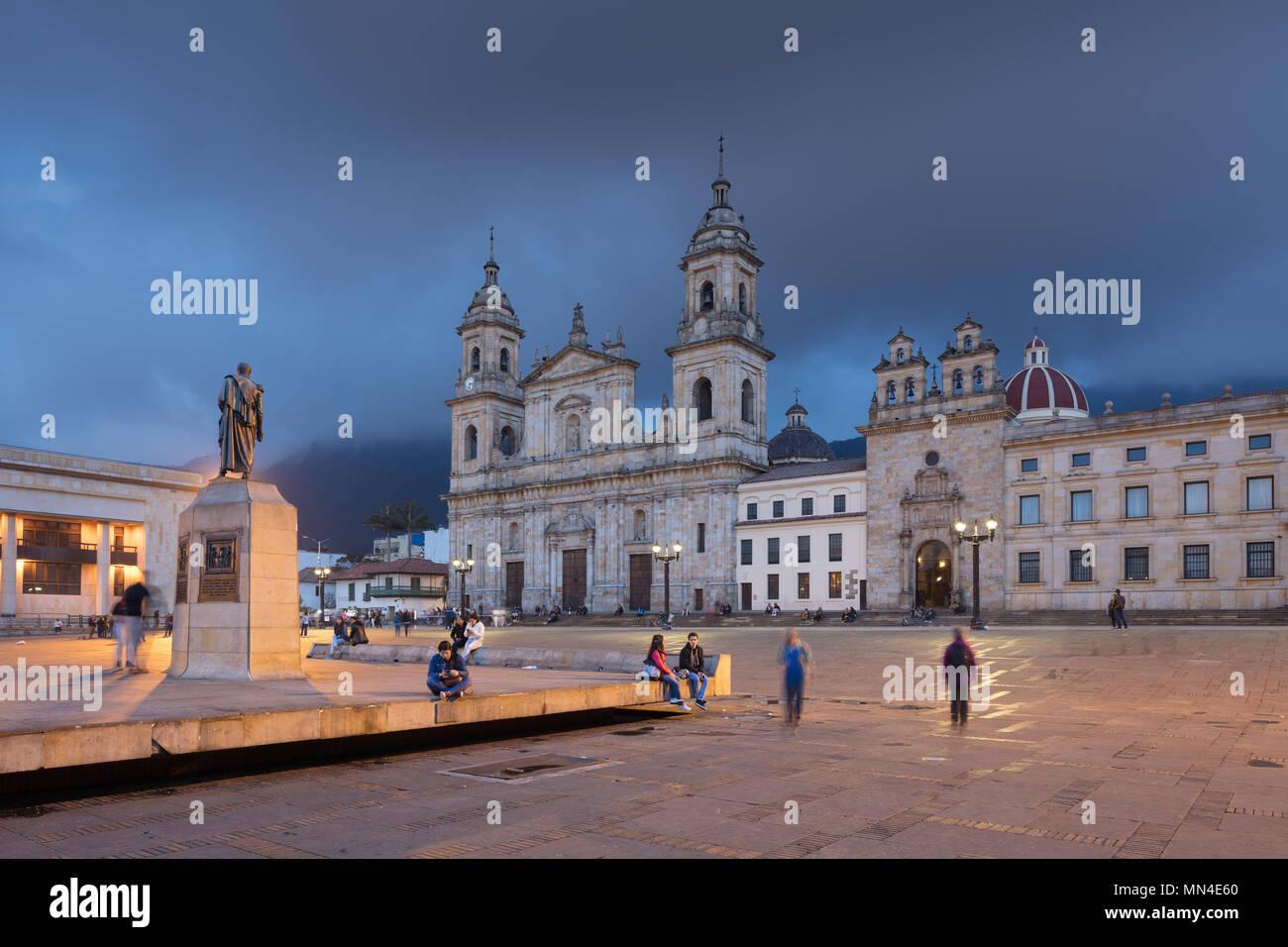 Plaza de Bolivar al crepuscolo, Bogotà, Colombia Immagini Stock