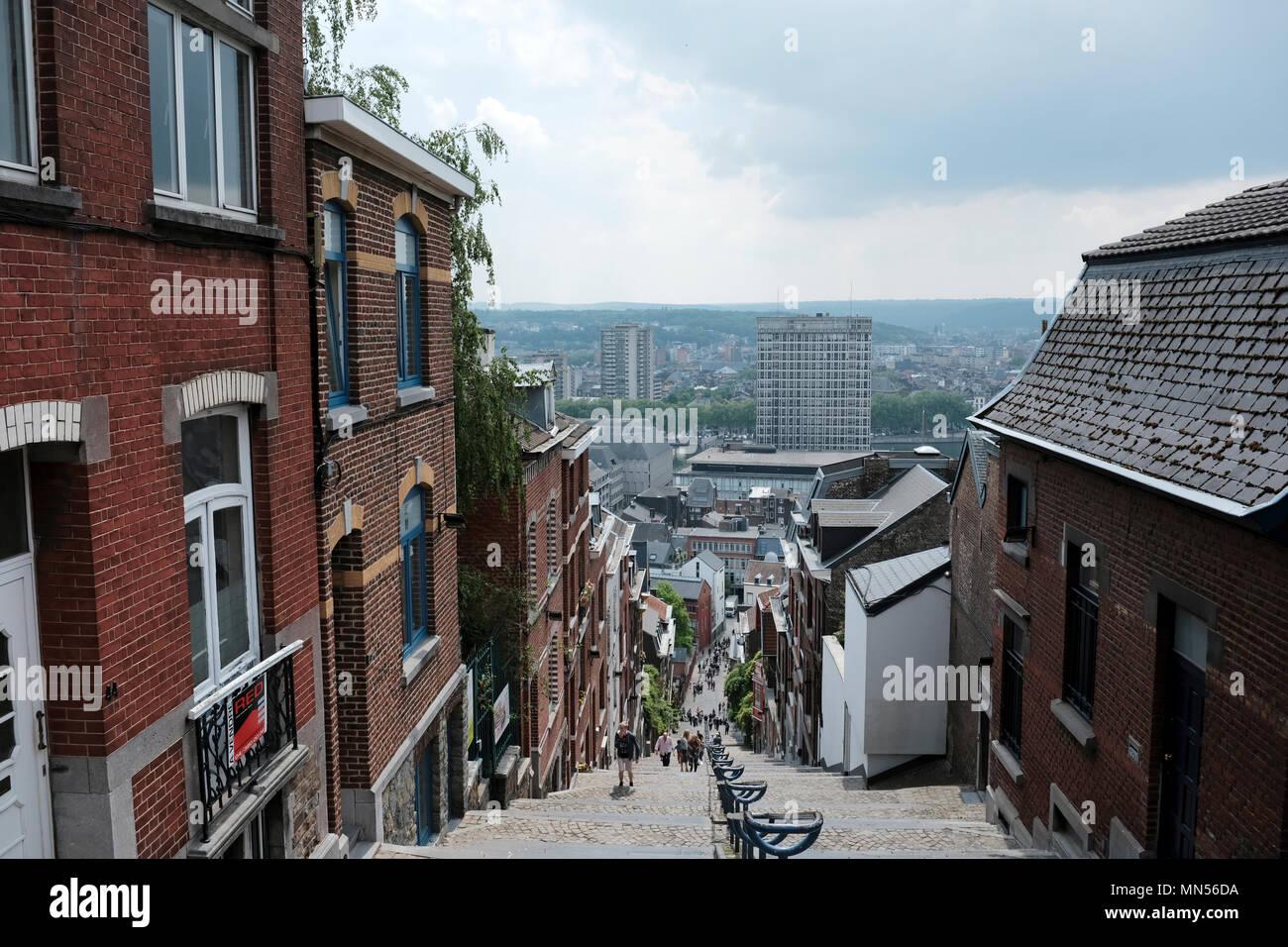 Montagne de Bueren, Liège, Belgio. La ripida 374-passo scala dispone di notorietà acquisita su internet ed è un simbolo della città belga. Immagini Stock