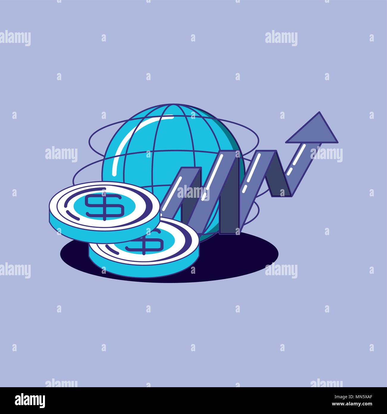 Financial technology design con ambito globale e denaro monete su sfondo viola, design colorato. illustrazione vettoriale Immagini Stock