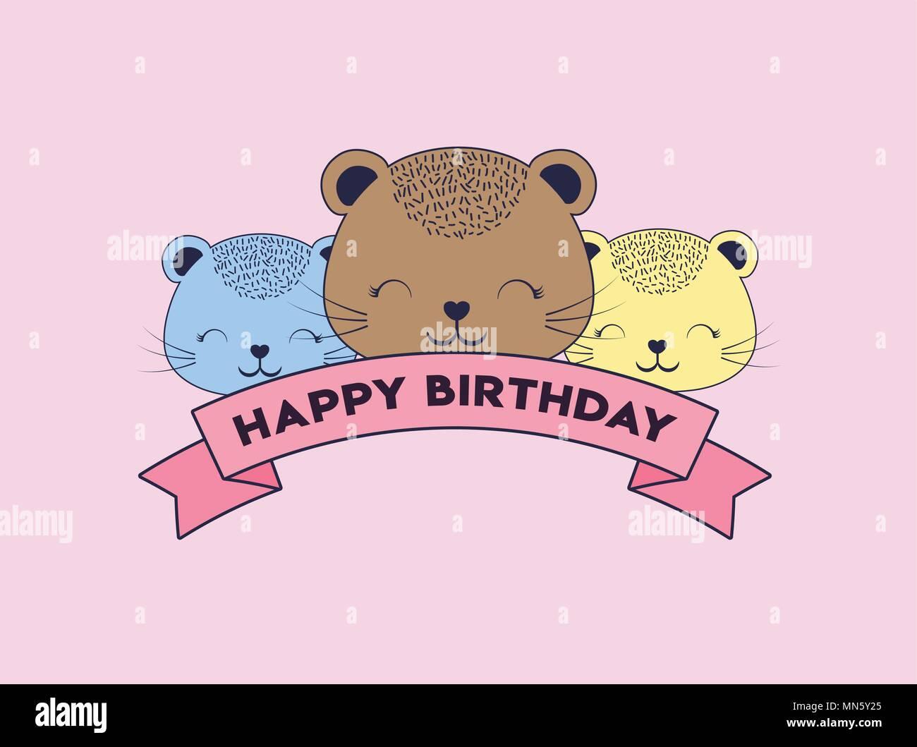 Buon Compleanno Design Con Simpatici Animali Icona E Nastro