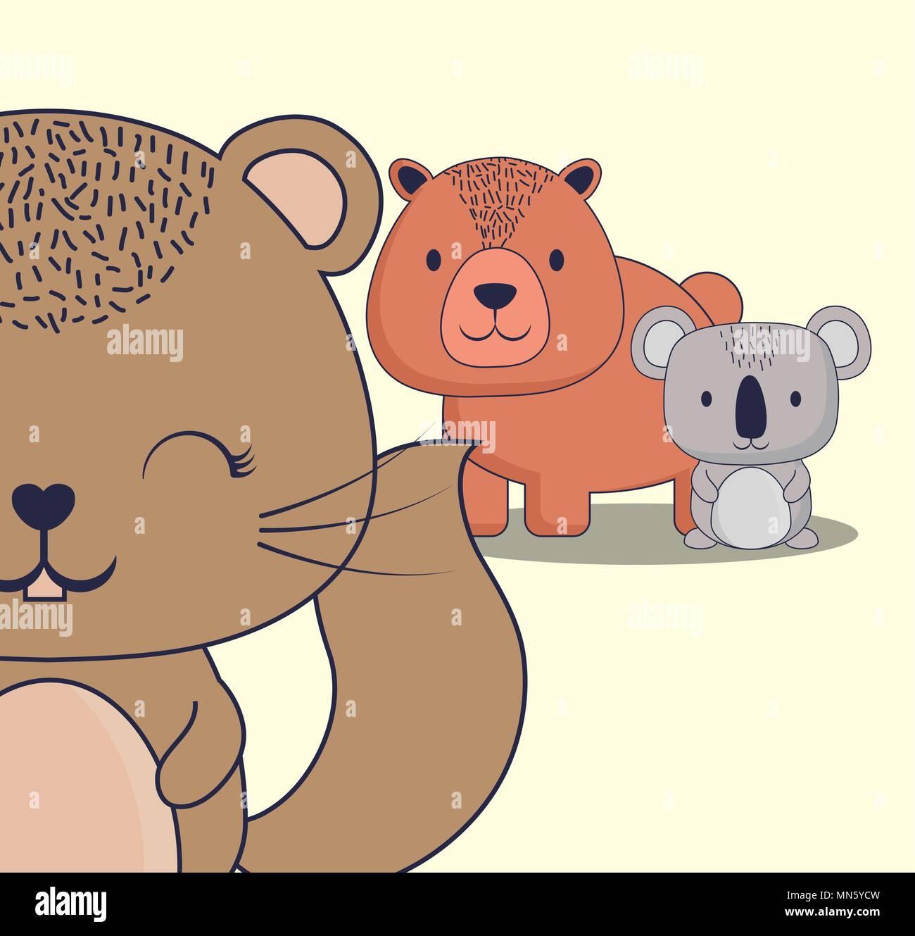 Scoiattolo Carino Con Orso E Koala Su Sfondo Bianco Design Colorato