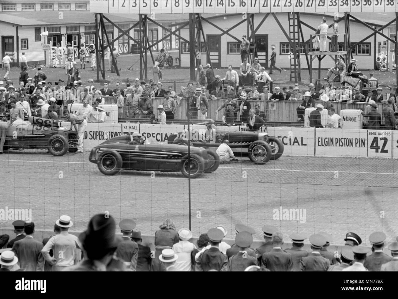 Gara automobilistica, Indianapolis, Indiana, Stati Uniti d'America, Arthur Rothstein PER GLI STATI UNITI Amministrazione di reinsediamento, Maggio 1938 Immagini Stock