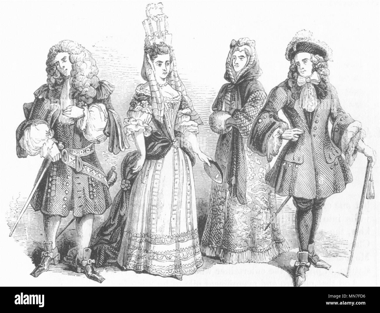 COSTUME. Di nobiltà & gentry, William & Mary c1690 1845 antica stampa Immagini Stock