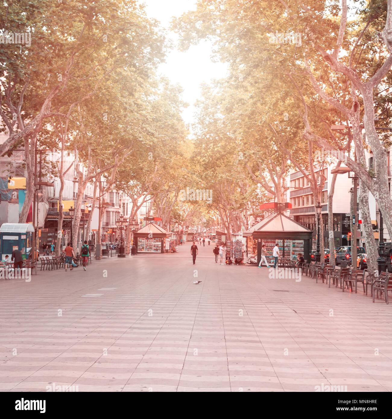 La Rambla street a Barcellona, Spagna Immagini Stock