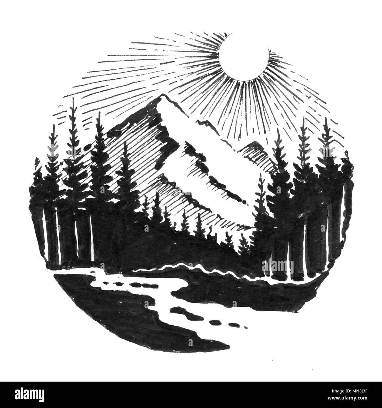 Fiume Di Montagna Paesaggio L Inchiostro Bianco E Nero Disegno Foto
