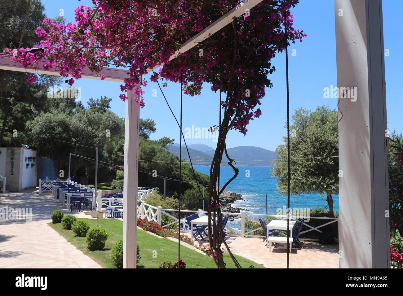 Il greco ristorante vicino al mare Egeo Immagini Stock