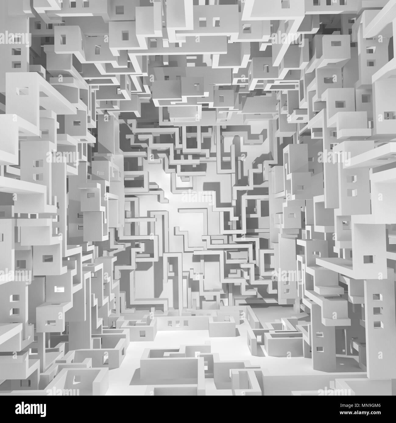 Muro Bianco labirinto surreale astratto, 3d'illustrazione, orizzontale Immagini Stock