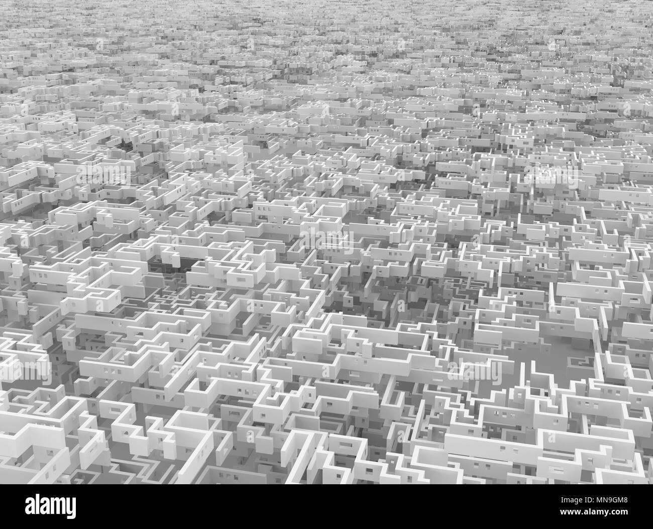 Muro Bianco labirinto infinito labirinto gigante surreale, 3d illustrazione, sfondo orizzontale Immagini Stock
