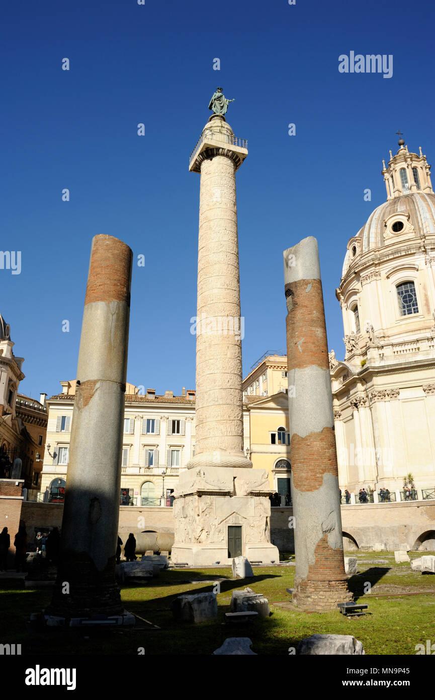 Italia, Roma, colonna Traiana Immagini Stock