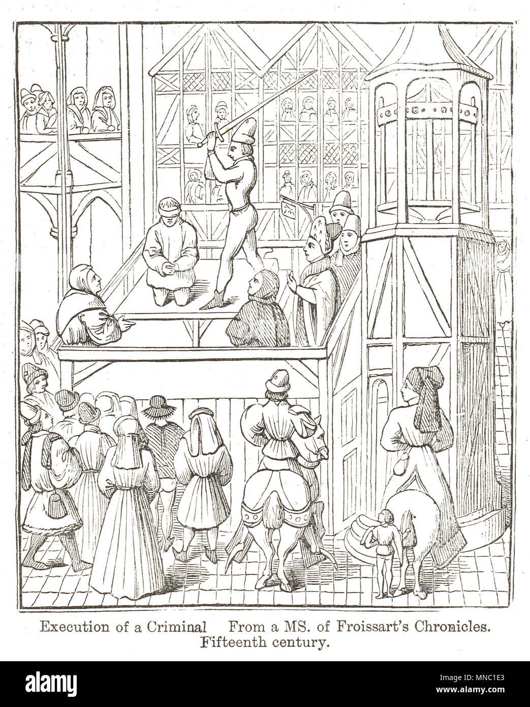 Esecuzione per decapitazione di un criminale nel XV secolo Immagini Stock