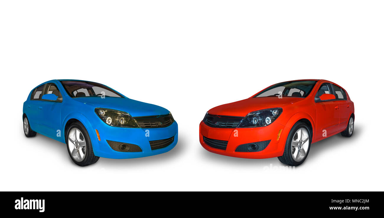 Rosso brillante e un blu brillante che porta quattro compact auto ibride isolato su uno sfondo bianco. Un realistico ombra sotto la vettura è incluso. Immagini Stock