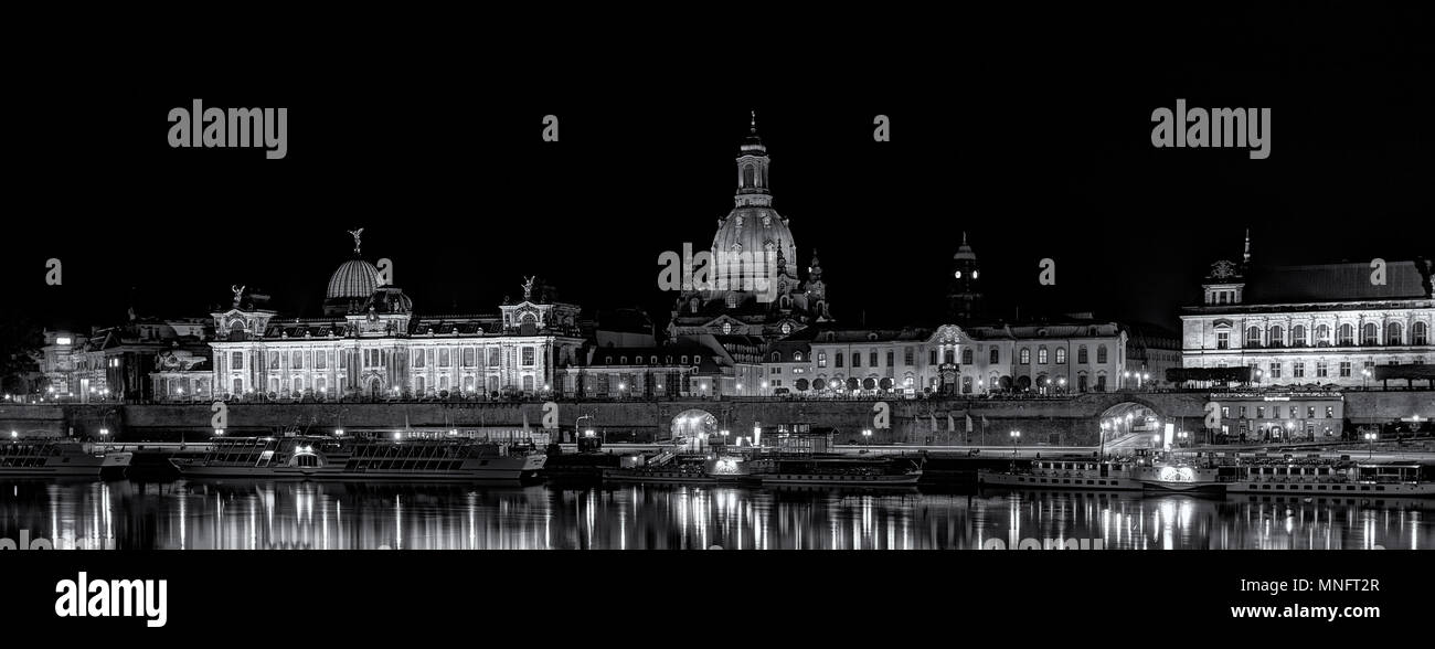 Dresden - Terrassenufer - Brühlsche Terrasse. Immagini Stock