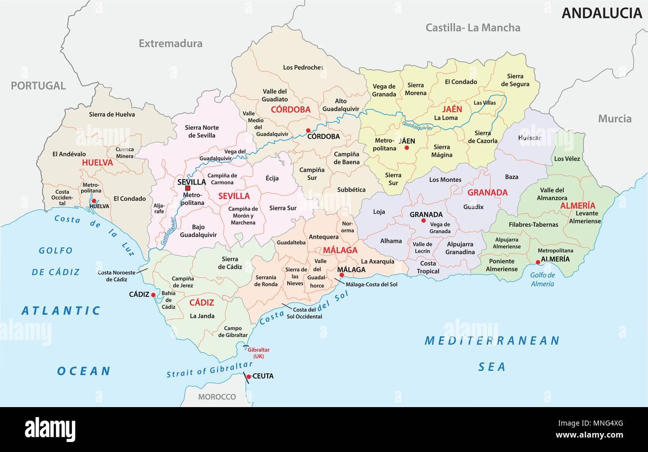 Cartina Dell Andalusia Spagna.Andalusia Politica E Amministrativa Di Mappa Vettoriale Immagine E Vettoriale Alamy