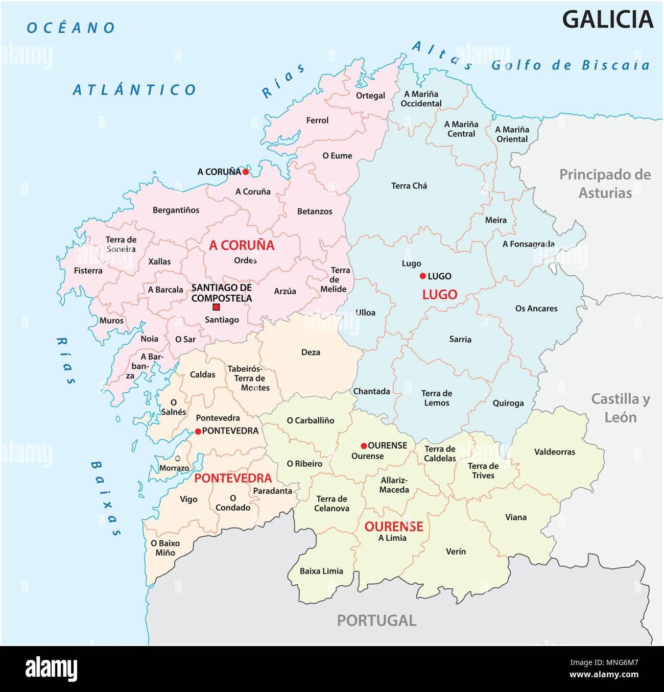 Galizia Cartina.La Galizia Politica E Amministrativa Di Mappa Vettoriale Spagna Immagine E Vettoriale Alamy