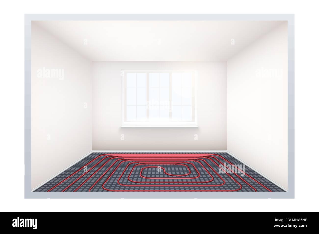 Riscaldamento A Pavimento E Raffreddamento stanza vuota con riscaldamento a pavimento e finestra