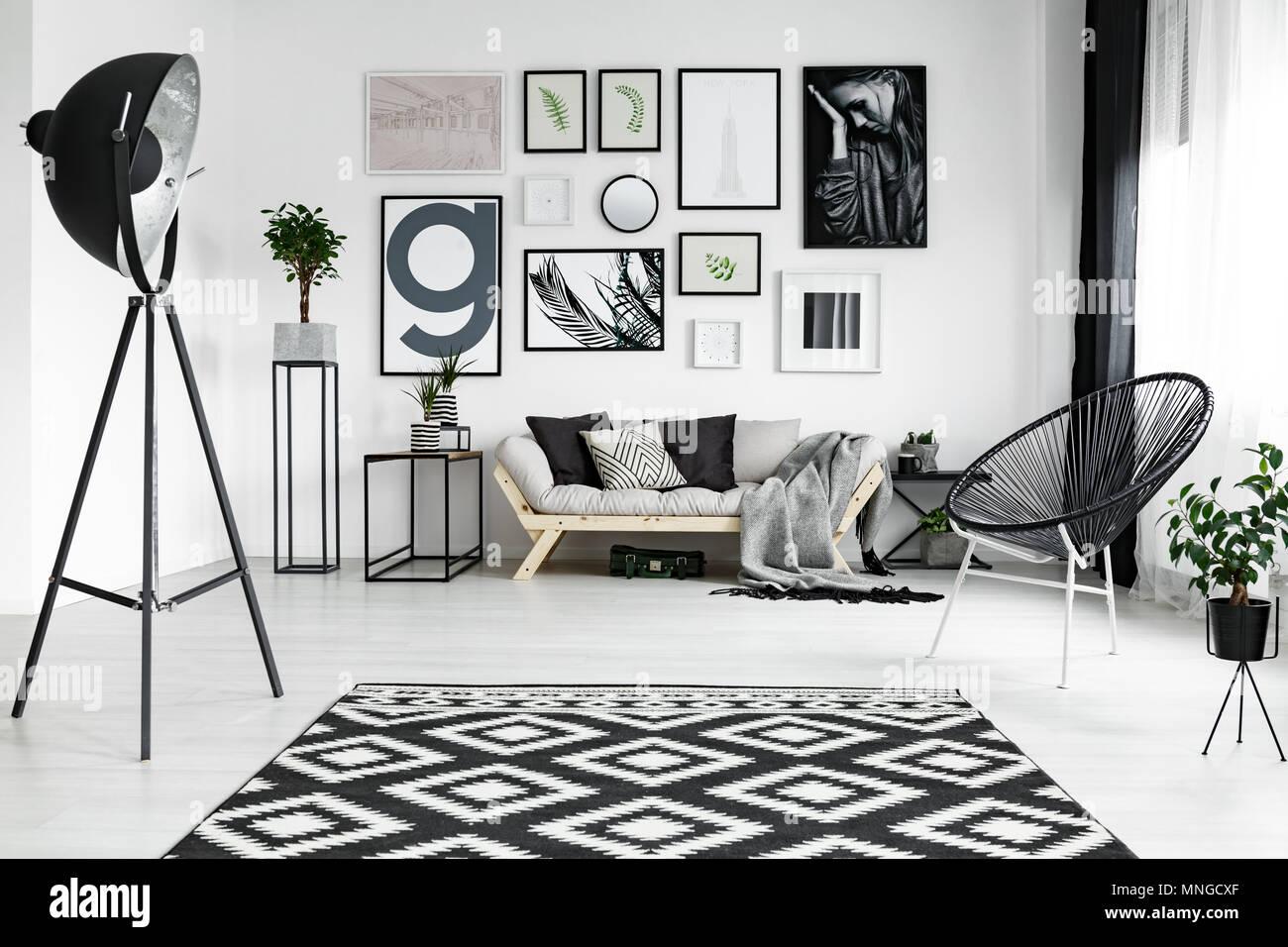 Bianco elegante soggiorno con accessori nero e piante Foto ...
