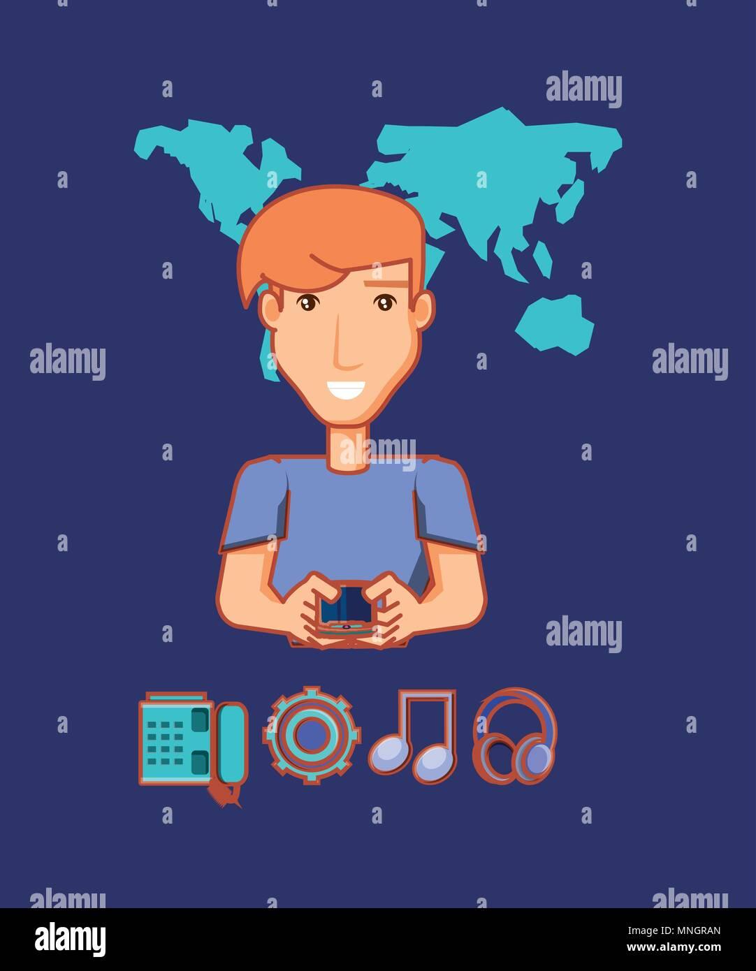 Cartoon Uomo Con Il Cellulare E Con I Social Media Le Relative Icone