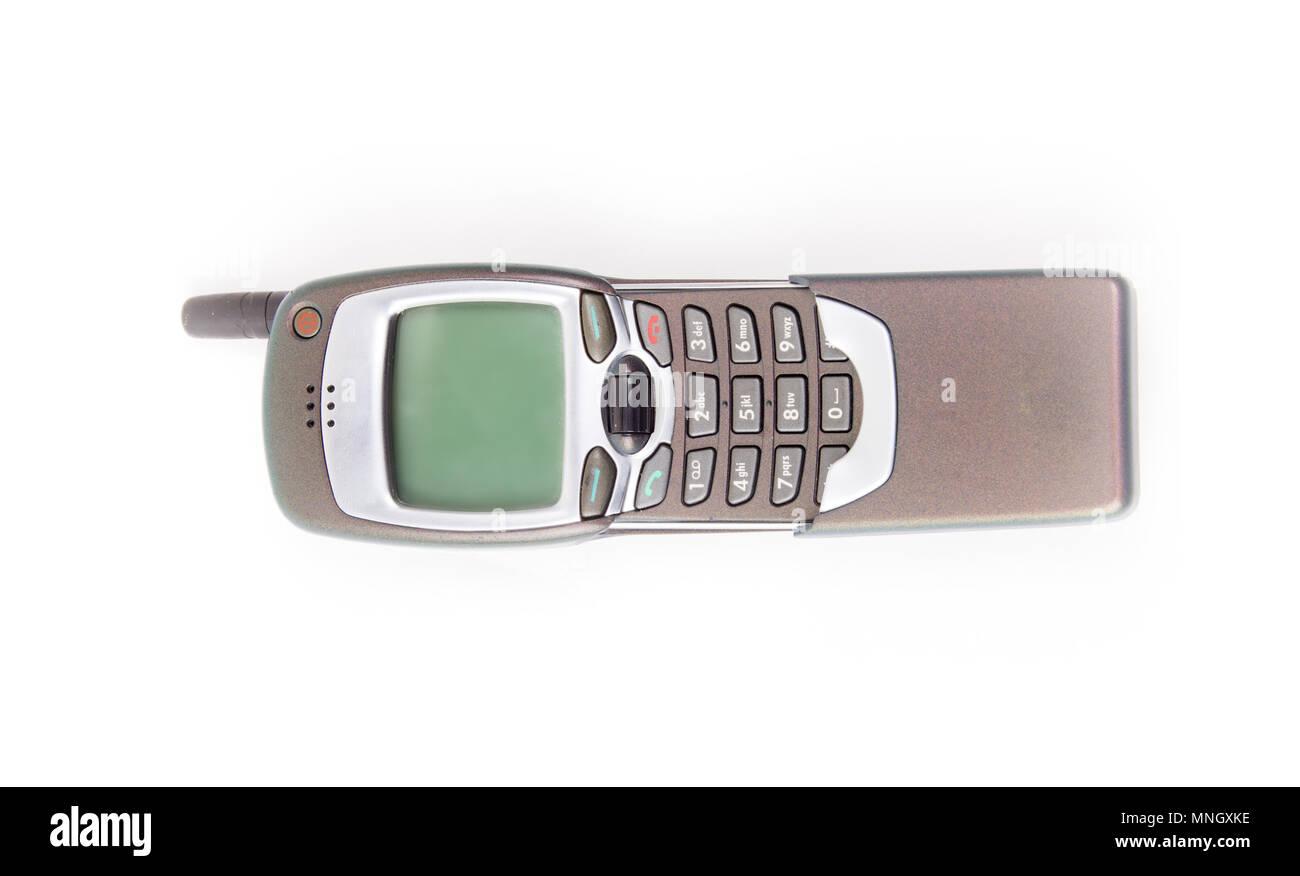 Vecchio Telefono Cellulare Disposto Obsoleto Telefono Su Sfondo