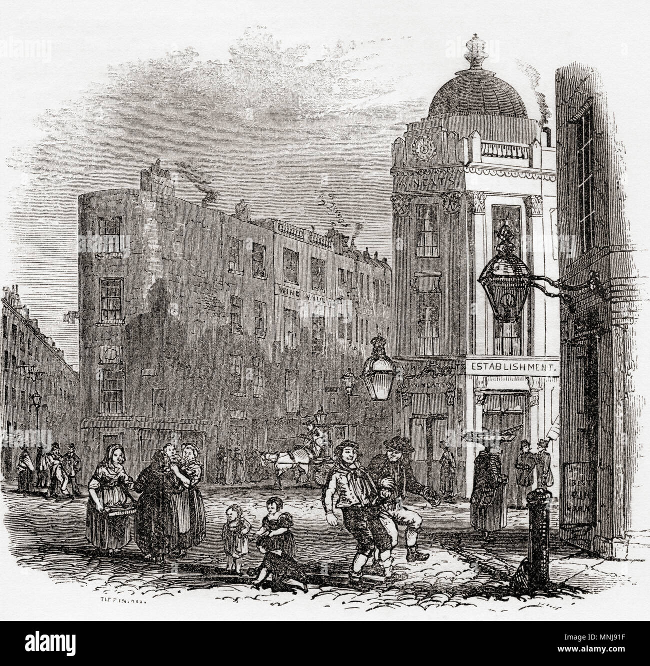 Seven Dials, West End di Londra, Inghilterra, visto qui all'inizio del XIX secolo. Da Vecchia Inghilterra: un museo pittorico, pubblicato nel 1847. Immagini Stock