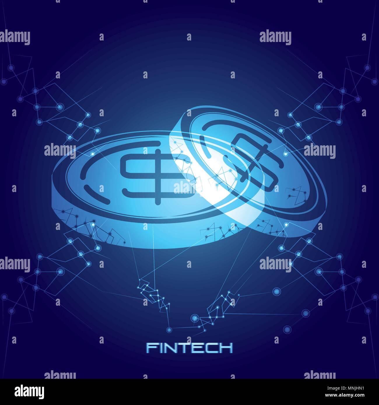 Monete denaro tecnologia finanziaria illustrazione vettoriale design Illustrazione Vettoriale