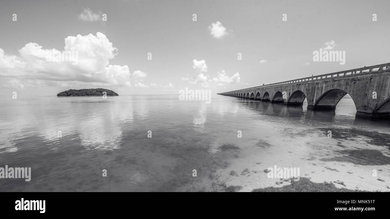 Lungo Ponte a chiave della Florida's - Storico Overseas Highway e 7 miglio a ponte da Key West, Florida, Stati Uniti d'America Immagini Stock