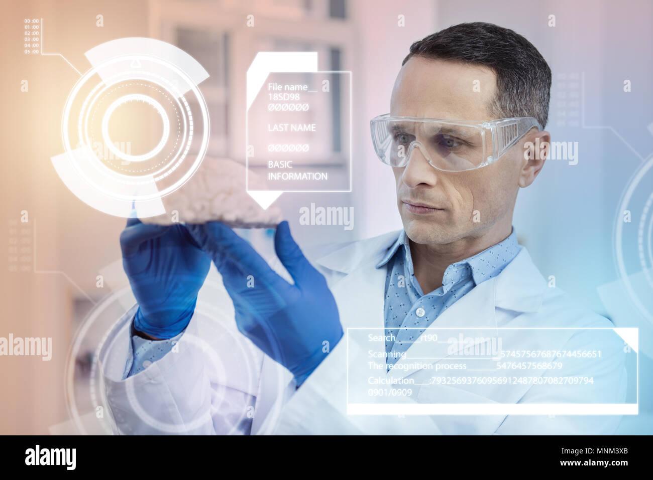 Attento medico guardando la miniatura del cervello mentre si lavora con gli occhiali Immagini Stock