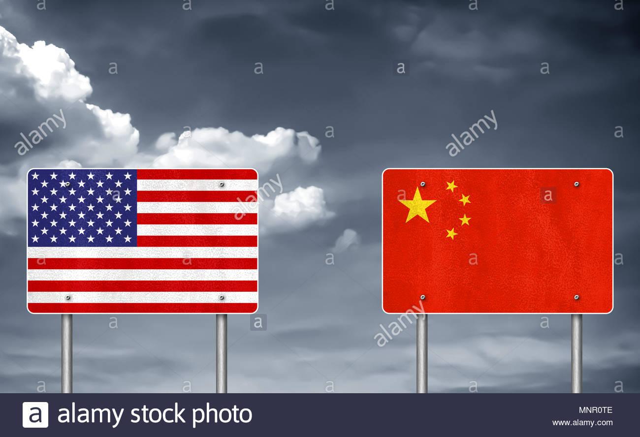 Conflitto commerciale tra Stati Uniti e Cina - guerra tariffaria Immagini Stock