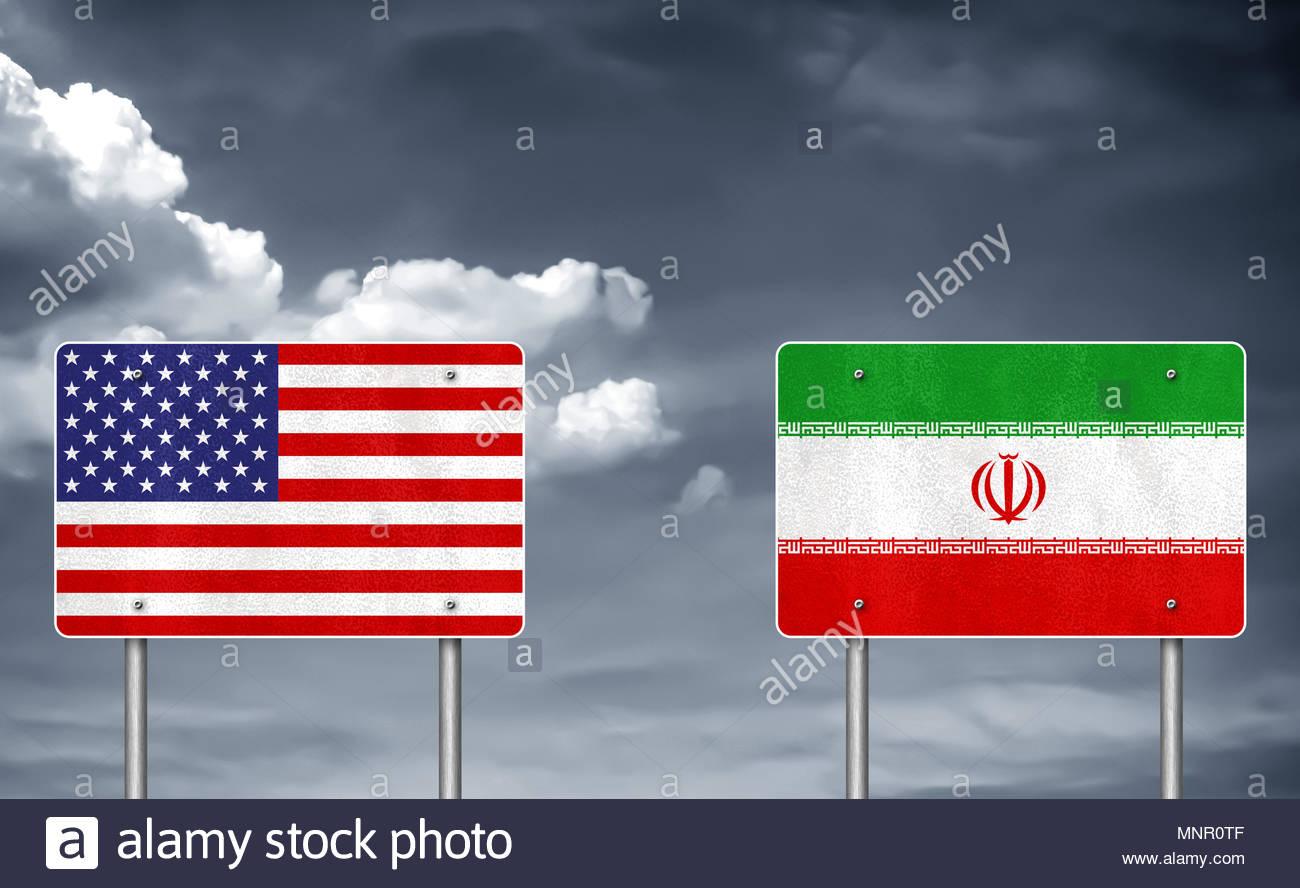 Conflitto commerciale tra Stati Uniti e Iran Immagini Stock