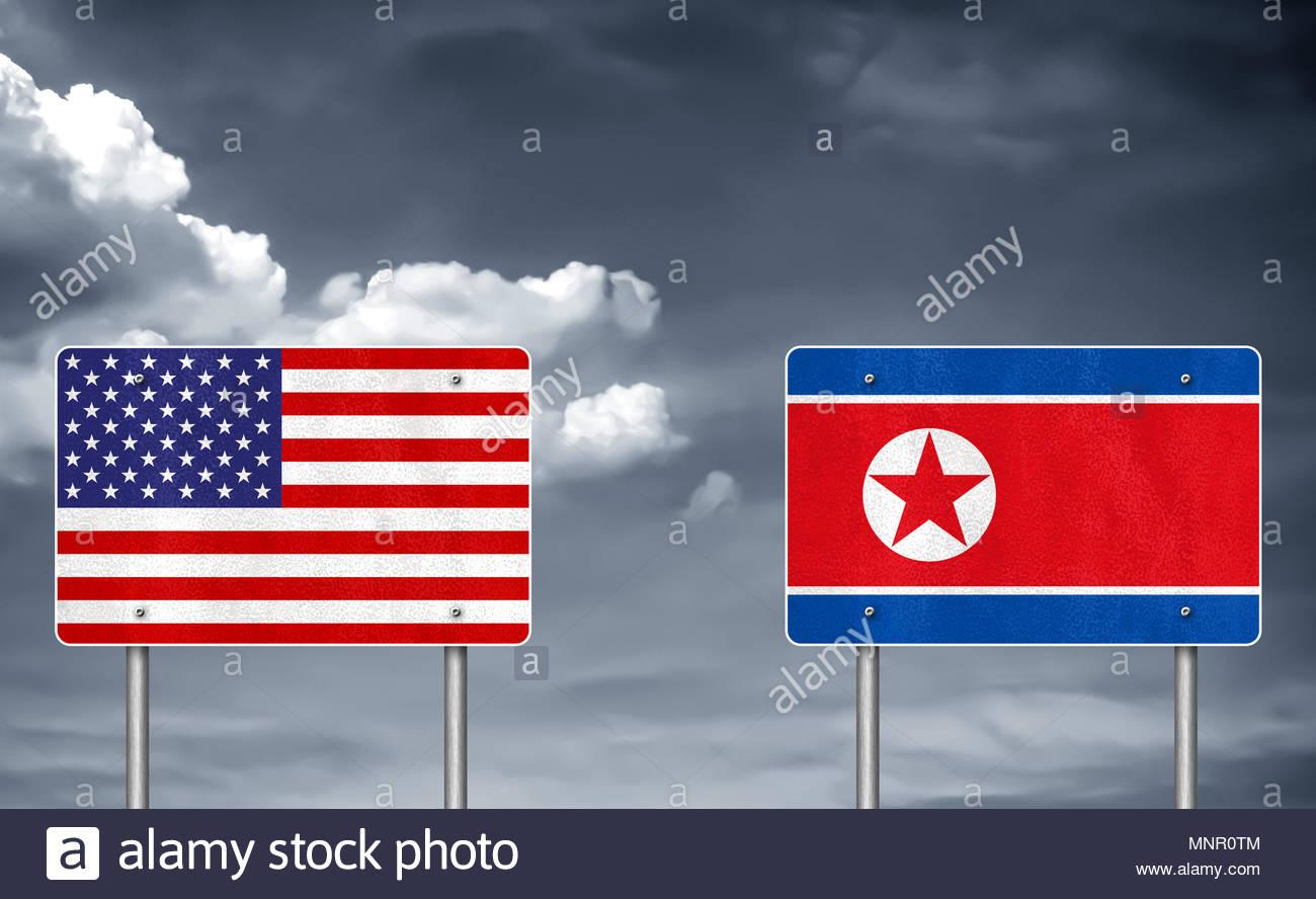 Conflitto commerciale tra Stati Uniti e Corea del Nord Immagini Stock
