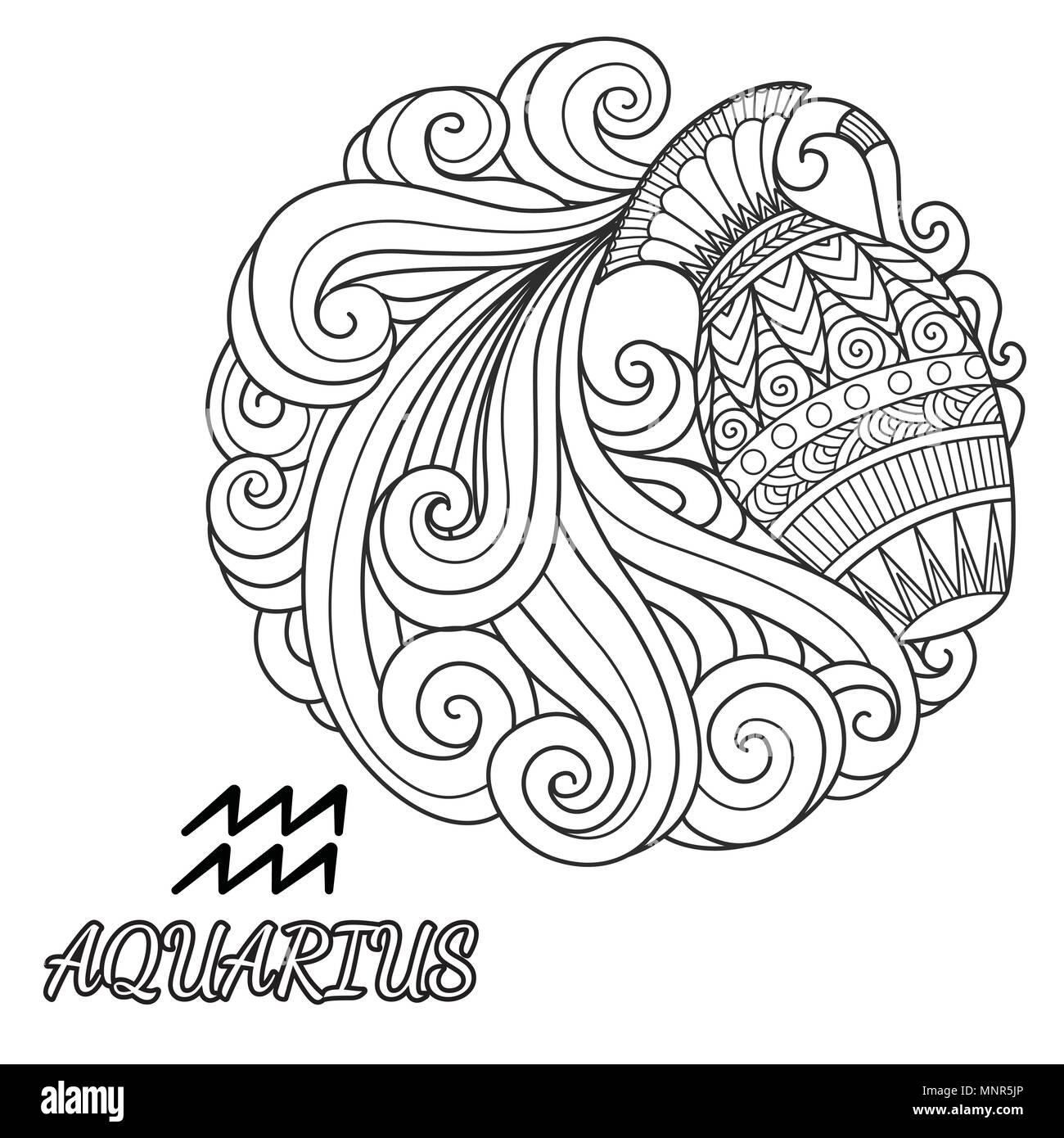 Disegno Acquario Segno Zodiacale.La Linea Art Design Dell Acquario Segno Zodiacale Per