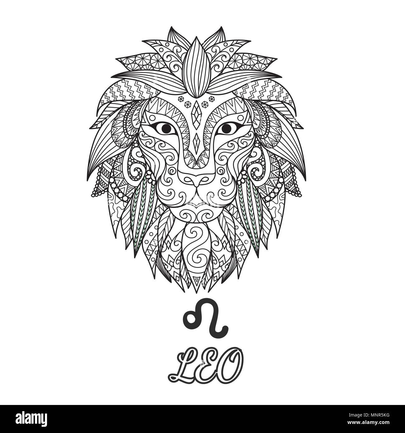 Design Zendoodle Di Leone Segno Zodiacale Per Illustrazione E