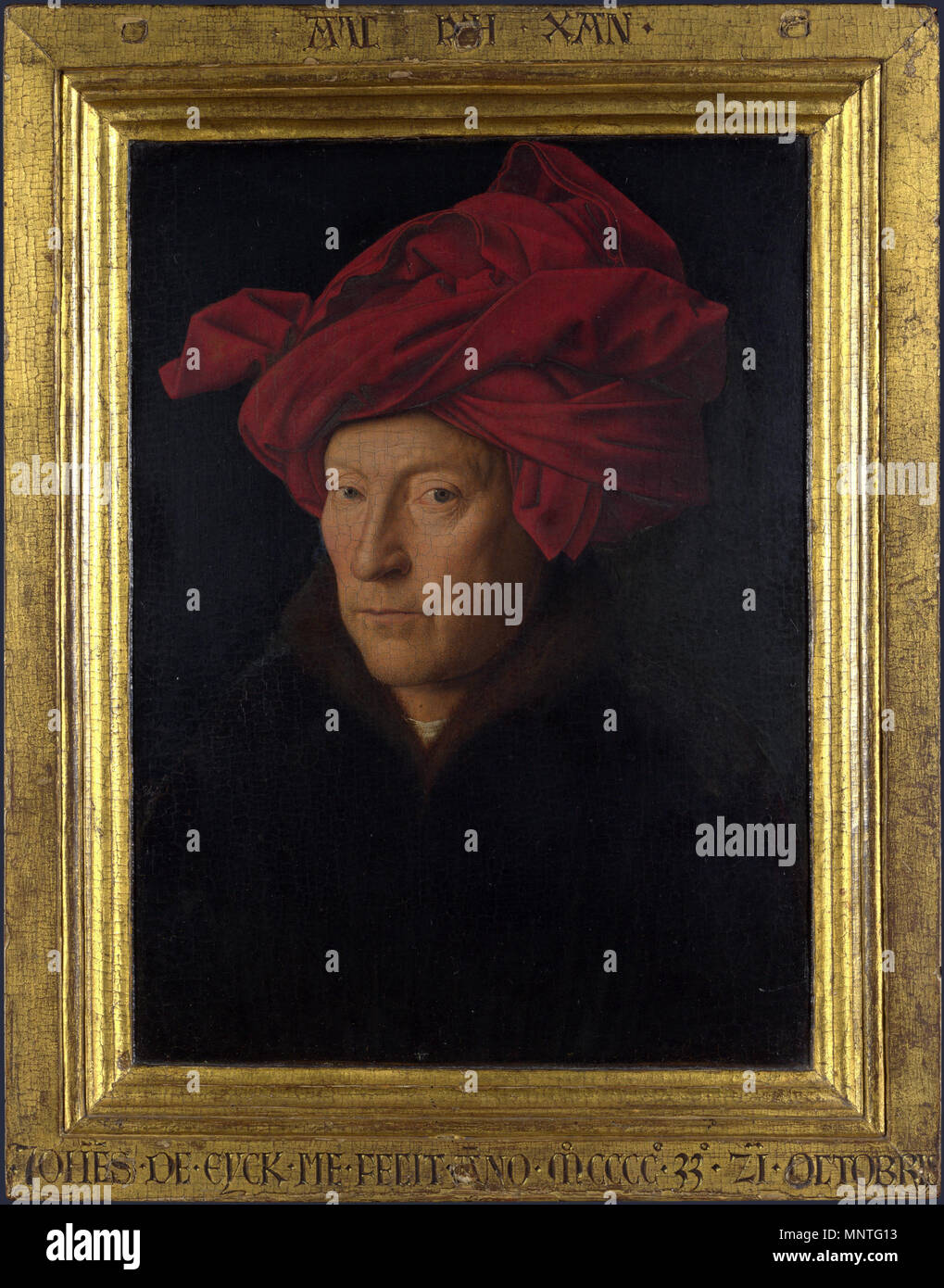 """Deutsch: Porträt des Mannes mit dem turbante Italiano: Ritratto di uomo con turbante rosso Nederlands: Uomo met de rode tulband inglese: """"Ritratto di un uomo (Autoritratto?)', aka """"Ritratto di un uomo in un turban' 1433. 1017 Ritratto di un uomo in un turban (Jan van Eyck) con telaio Immagini Stock"""