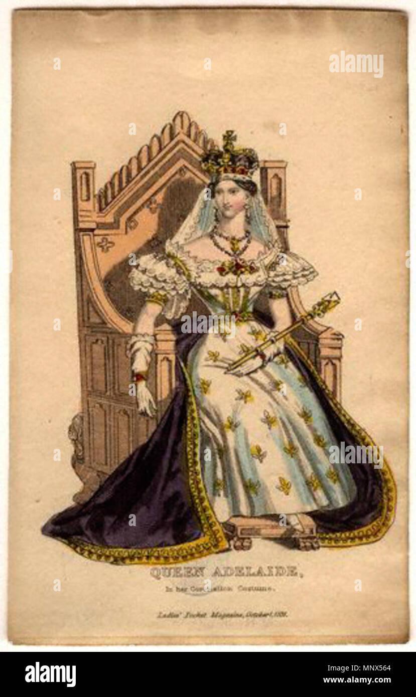 Dopo l artista sconosciuto,print,pubblicato 1831 Ritratto della Regina Adelaide Amelia Louisa Teresa Carolina di Sassonia-Coburgo Meiningen, consorte di Guglielmo IV pubblicato 1831. 915 MW42108 Foto Stock