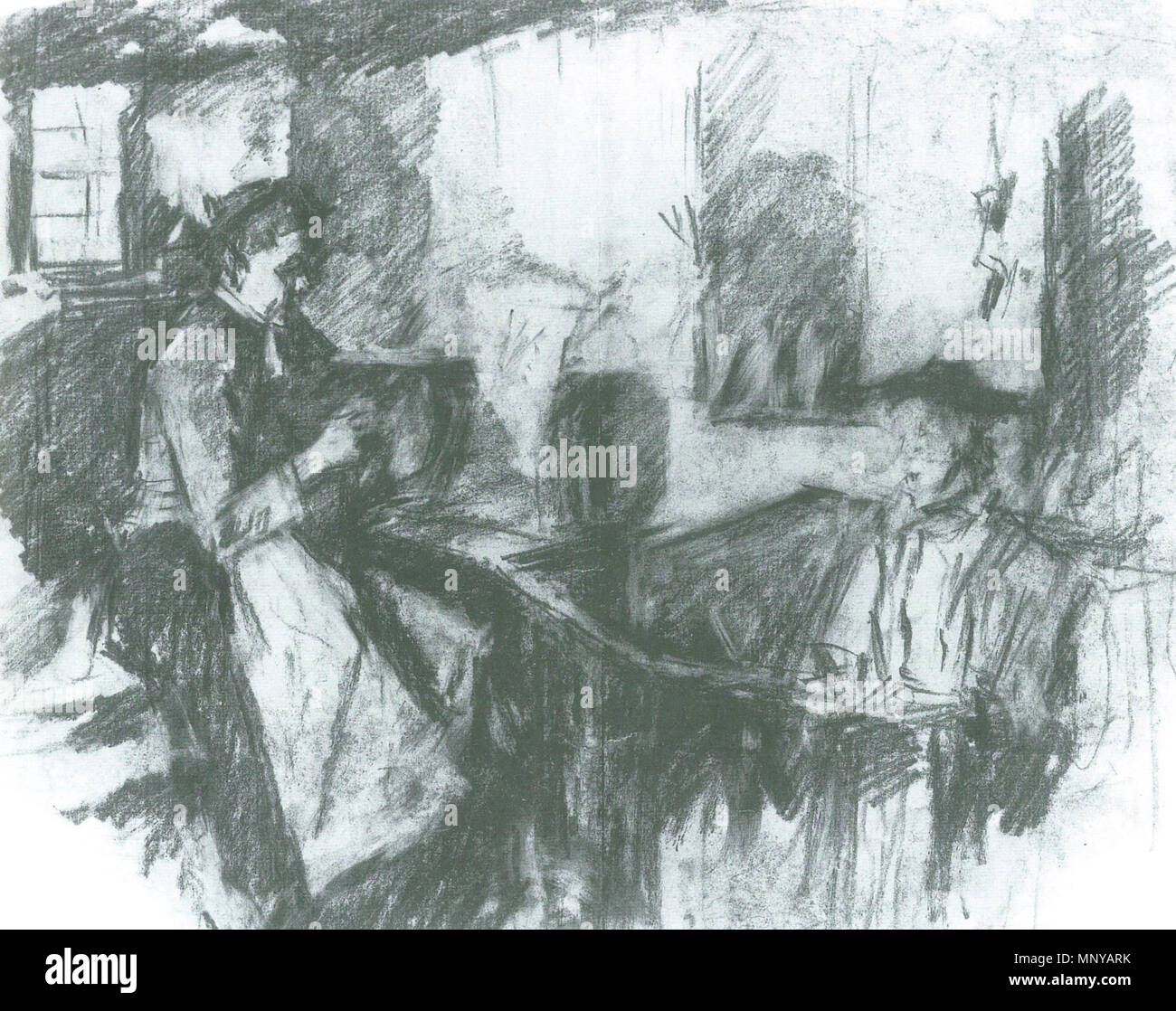 . Deutsch: Wilhelm Leibl: Spinnende Frauen. 30,5 × 40 cm. Bleistift und Kohle. La Kunsthalle di Mannheim . circa del 1895. Wilhelm Leibl 1259 Wilhelm Leibl Spinnende Frauen Immagini Stock