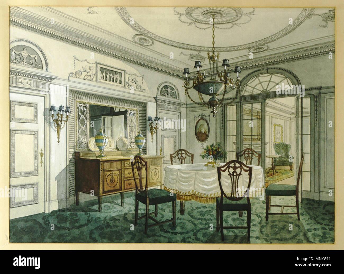Zimmerbgild des 19. Jahrhundert. Blick in das Interieur eines ...